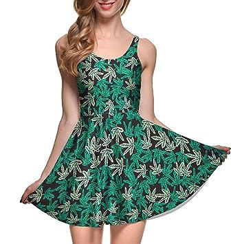 MEI vestido Sello Digital Flores Flores de Hojas Verdes en los ...