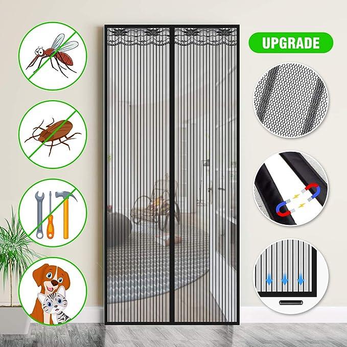 SAFETYON Mosquitera Puerta Magnetica, 90 x 210cm, Corredera Cortina Mosquitera Magnética para Puertas de Salón/Balcón/Corredor (Negro): Amazon.es: Bricolaje y herramientas