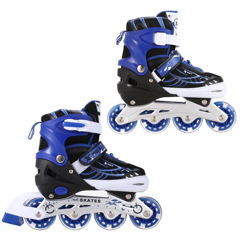 Mewalker Inline Skates,Aluminum Breathable Mesh Inline Skates Adjustable Rollerblades for Unisex Kids and Adults,US STOCK (Blue, S)