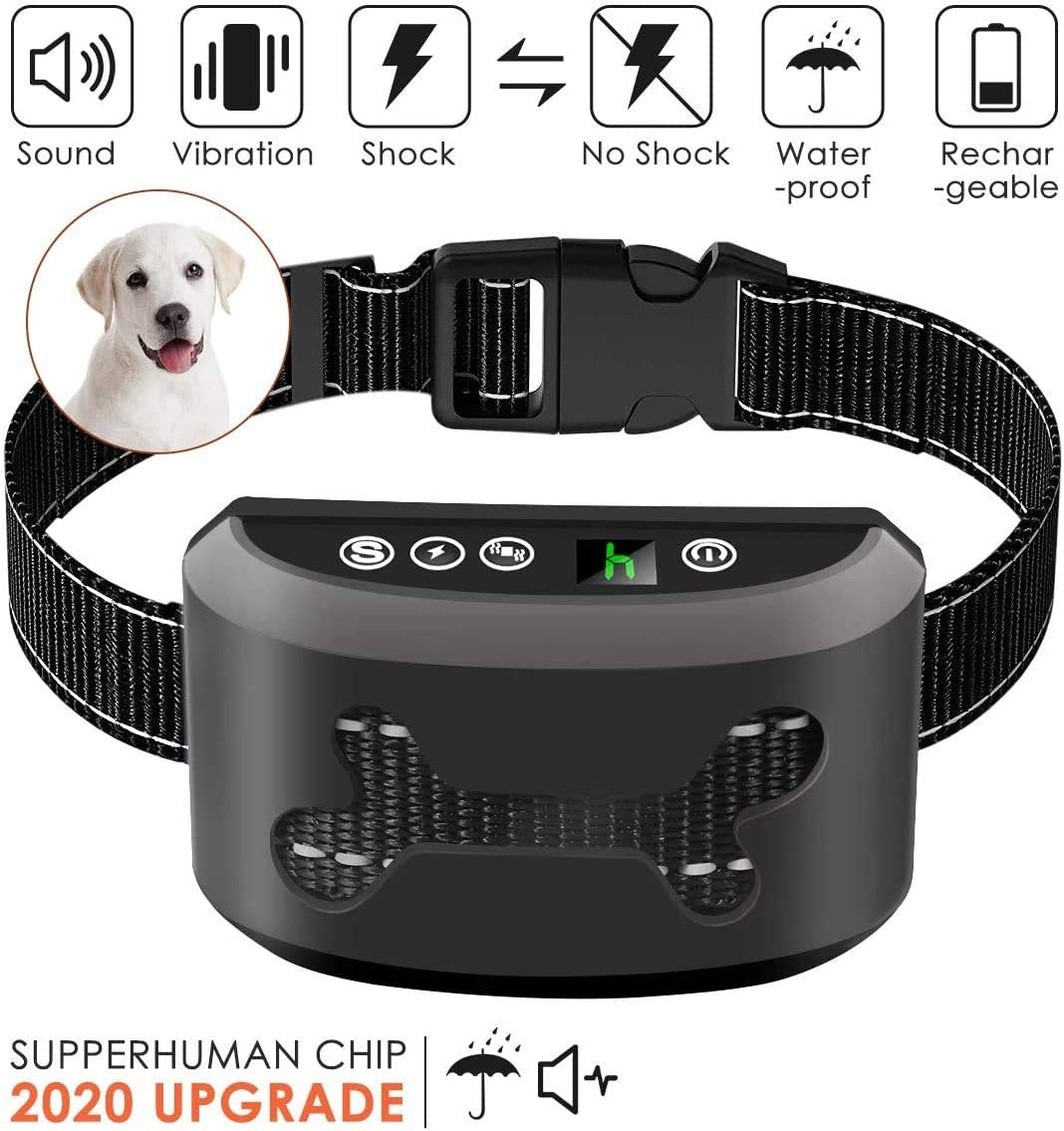 Rapchel Bark Collar, 2020 Upgrade Version, Harmless Bark Collar for Small Medium Large Dog, Rechargeable Anti bark Collar, Beep Vibration and No Harm Shock Smart Detection Module
