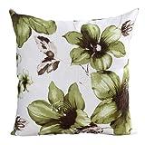 "Xinantime Cotton Linen Square Throw Pillow Case Decorative Cushion Cover Pillowcase Flower 18 ""X18 "" (Green)"