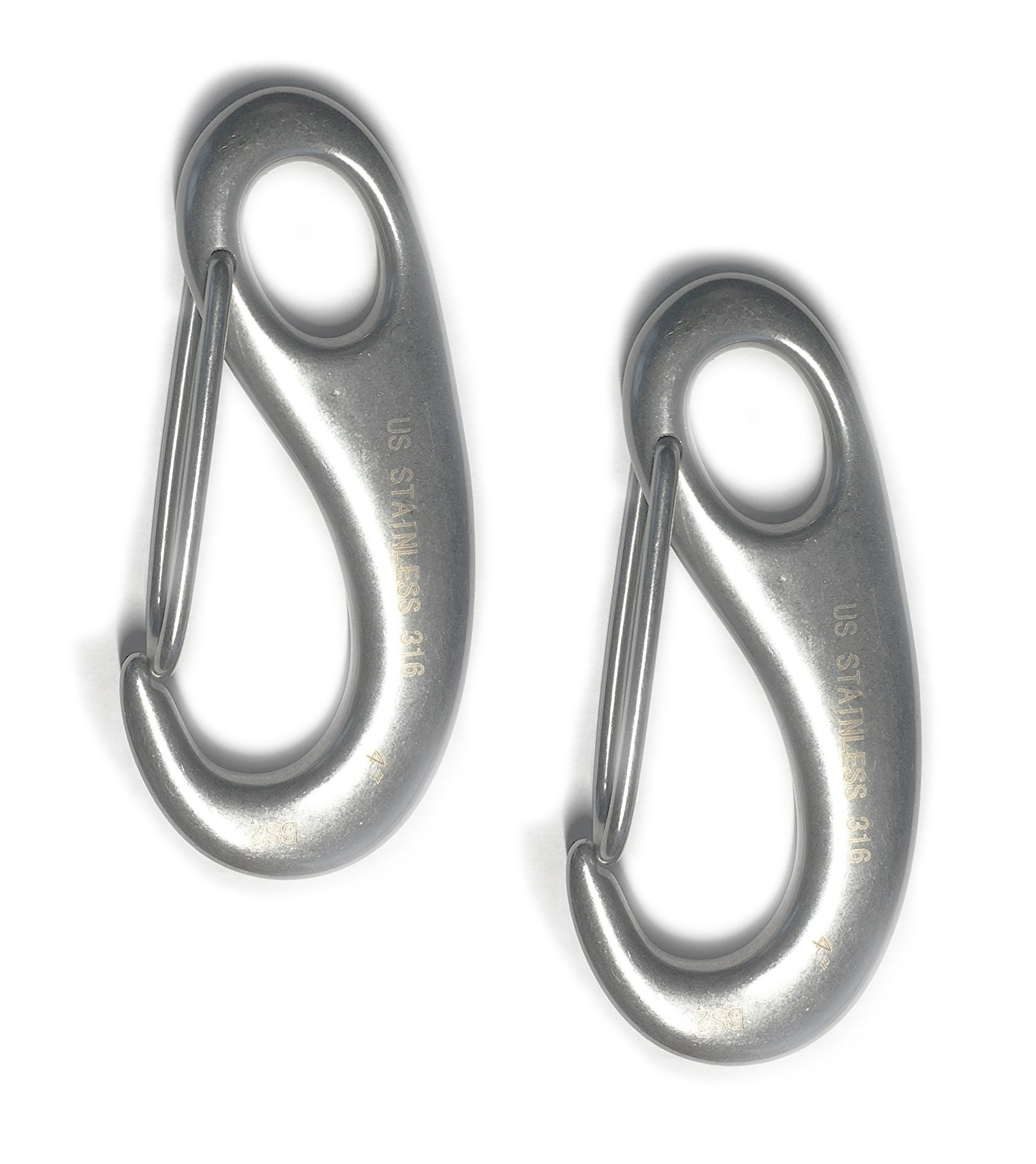 2 Pieces Stainless Steel 316 Spring Snap Lobster Claw 4'' Marine Grade