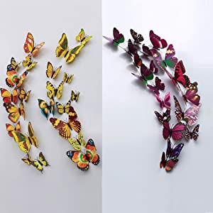 Wowlove 24 Pcs 3D Butterfly Wall Stickers Art Decor Decals(12Pcs Yellow + 12Pcs Purple)