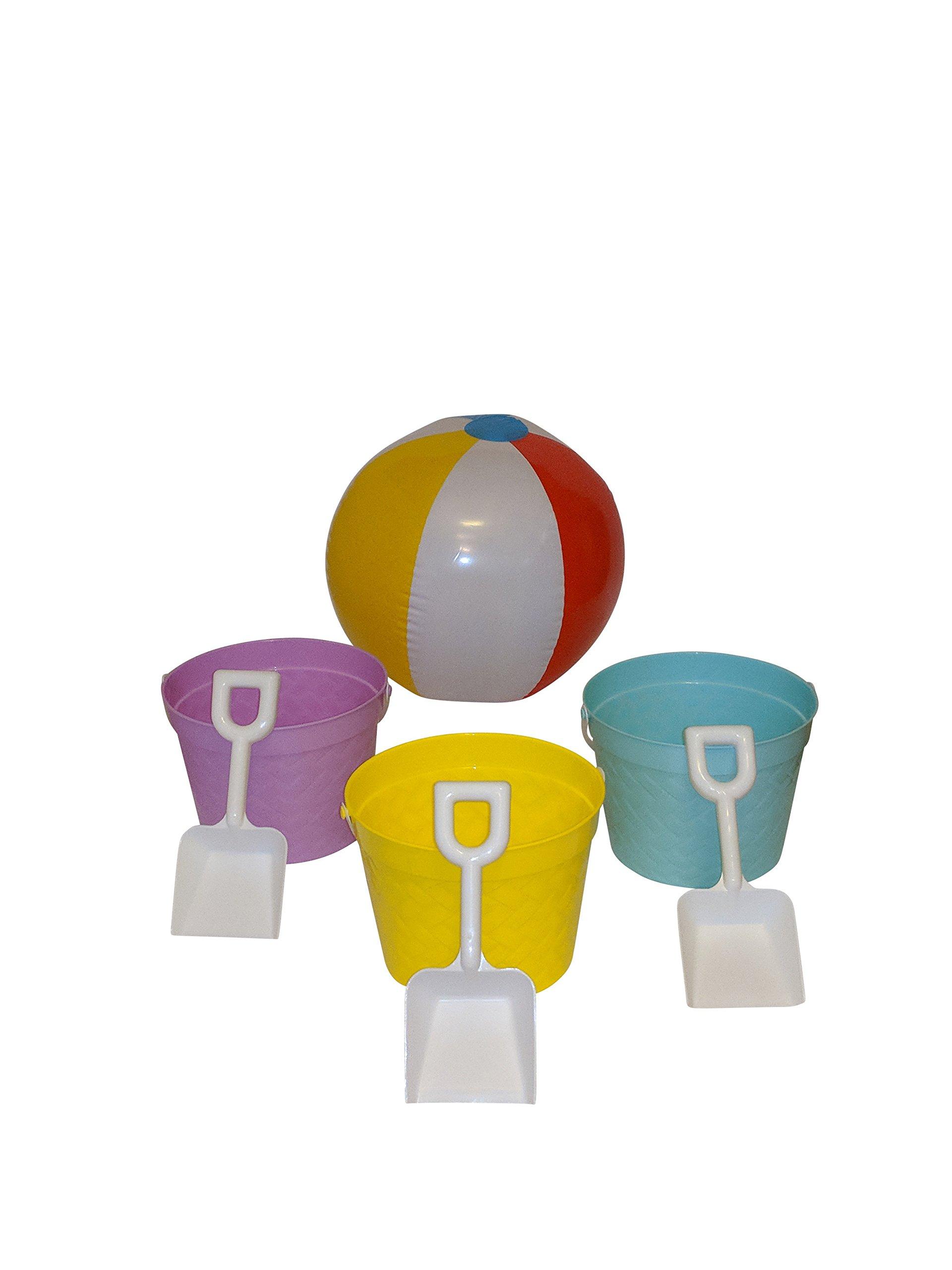 Funville Beach Toys Set Including Buckets & Shovels & Beach Ball