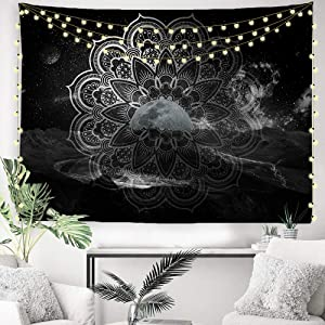 "ORTIGIA Black and White Mandala Tapestry Wall Hanging Art Home Decor,Hippie Bohemian Moon for Bedroom,Living Room,Dorm, Office Polyester Fabric Needles Included - 90"" W x 71"" L"