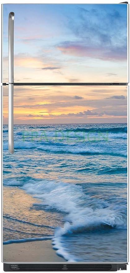Mar Ola-Adhesivo para frigorífico, diseño de puesta de sol ...