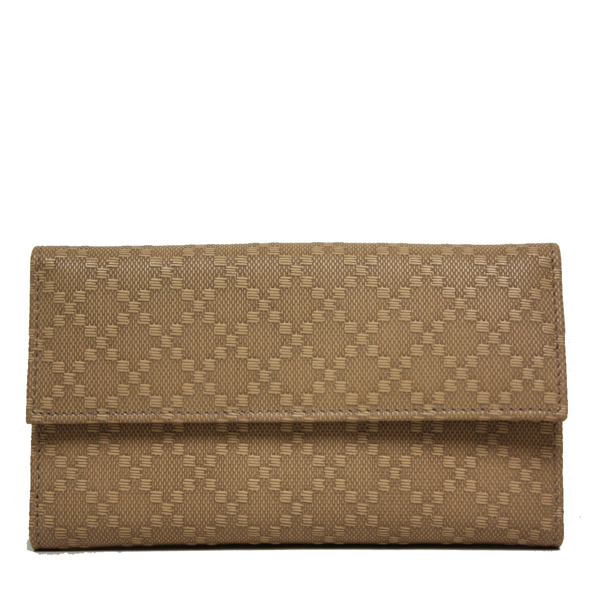 Gucci Diamante Leather Flap Wallet 143389, Tan Brown