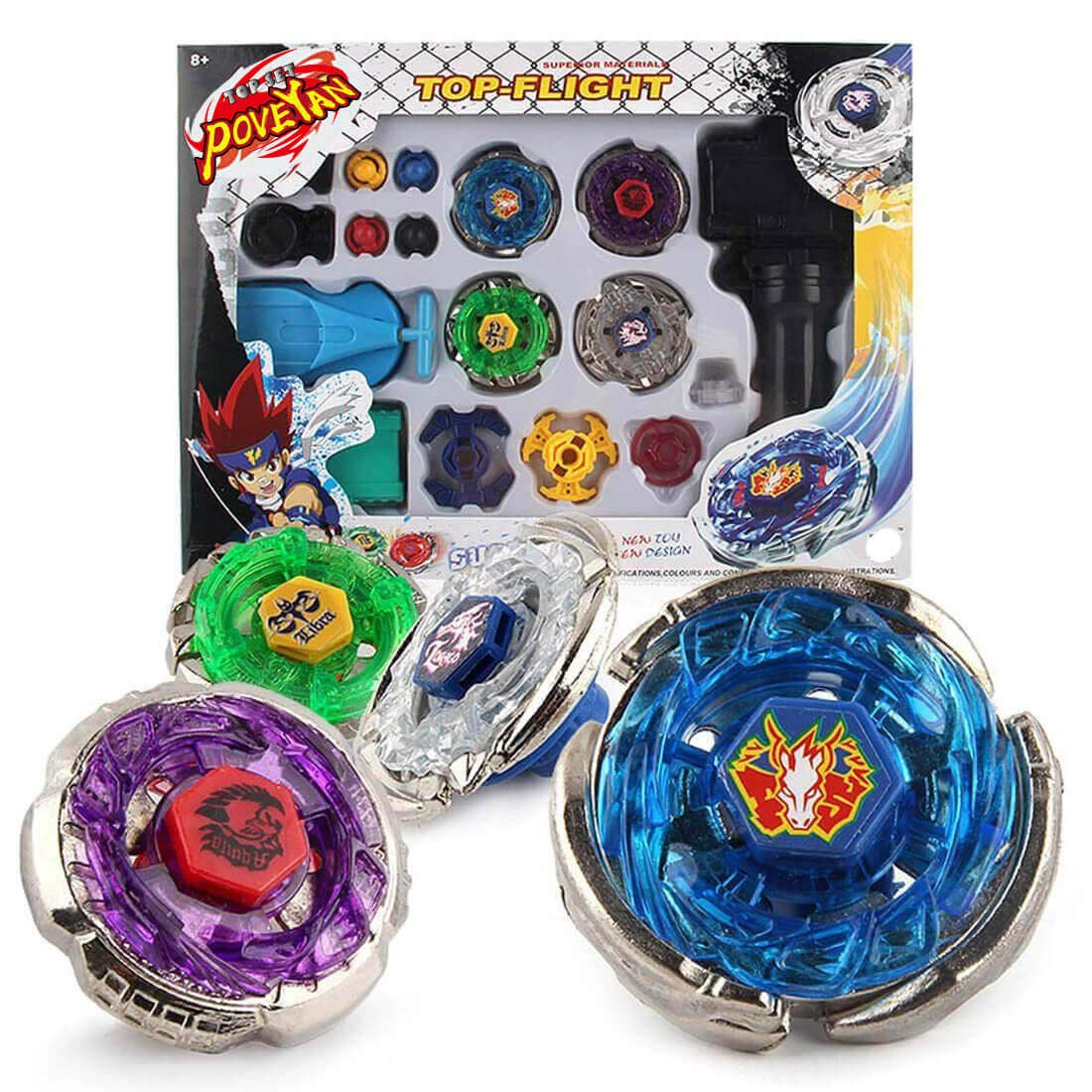 Poveyan Metal Master Fusion Storm Pegasus/Flame Libra/Earth Eagle/ Lightning L-Drago with 4D Launcher Grip Gyro Top Set by Poveyan