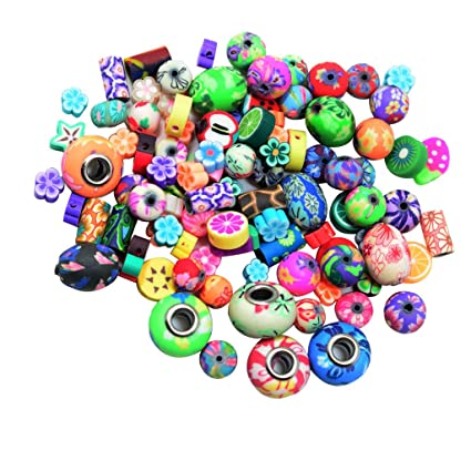 6c1a106ce3bf C2K 100 Piece Assorted Round Flower Polymer Clay Beads for DIY Crafts  Jewelry Making  Amazon.in  Home   Kitchen
