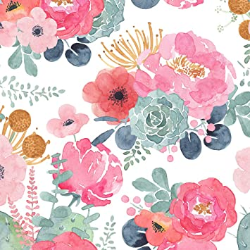 Haokhome 93005 2 Floral Wallpaper Peel And Stick Watercolor Cactus White Pink Green Navy Blue Vinyl Self Adhesive Prepasted Decorative 17 7 X 9 8ft Amazon Com