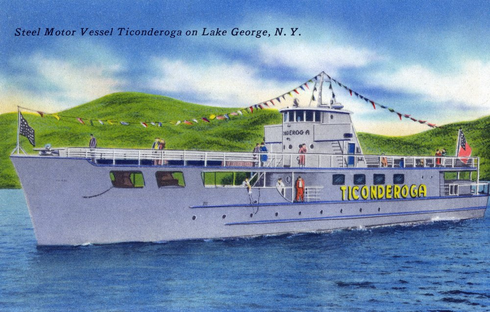 Lake George, New York - Steel Motor Vessel Ticonderoga on Lake (12x18 Art Print, Wall Decor Travel Poster)