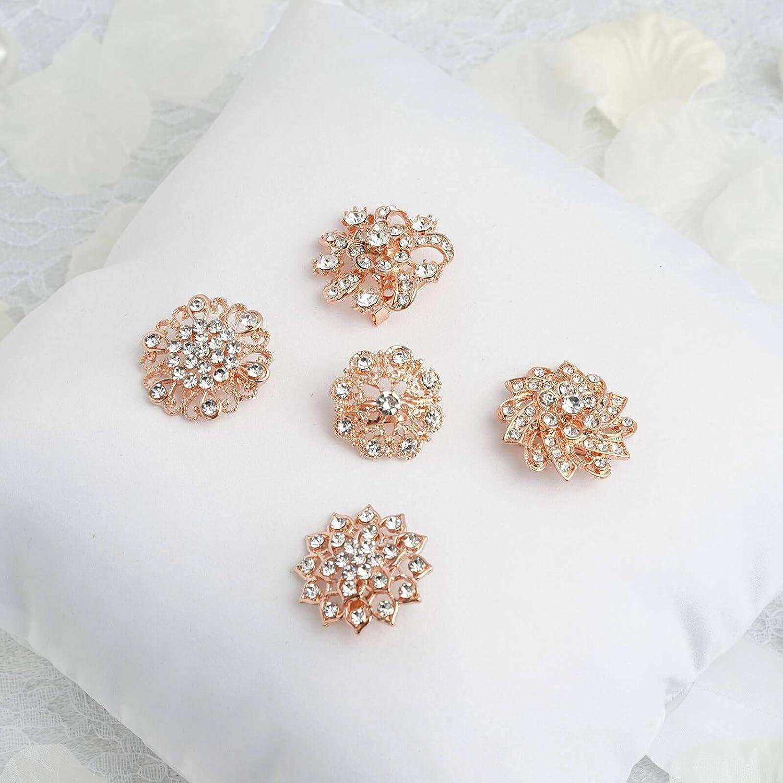 5 Pcs Assorted Mandala Crystal Rhinestone Brooches Floral Sash Pin Brooch
