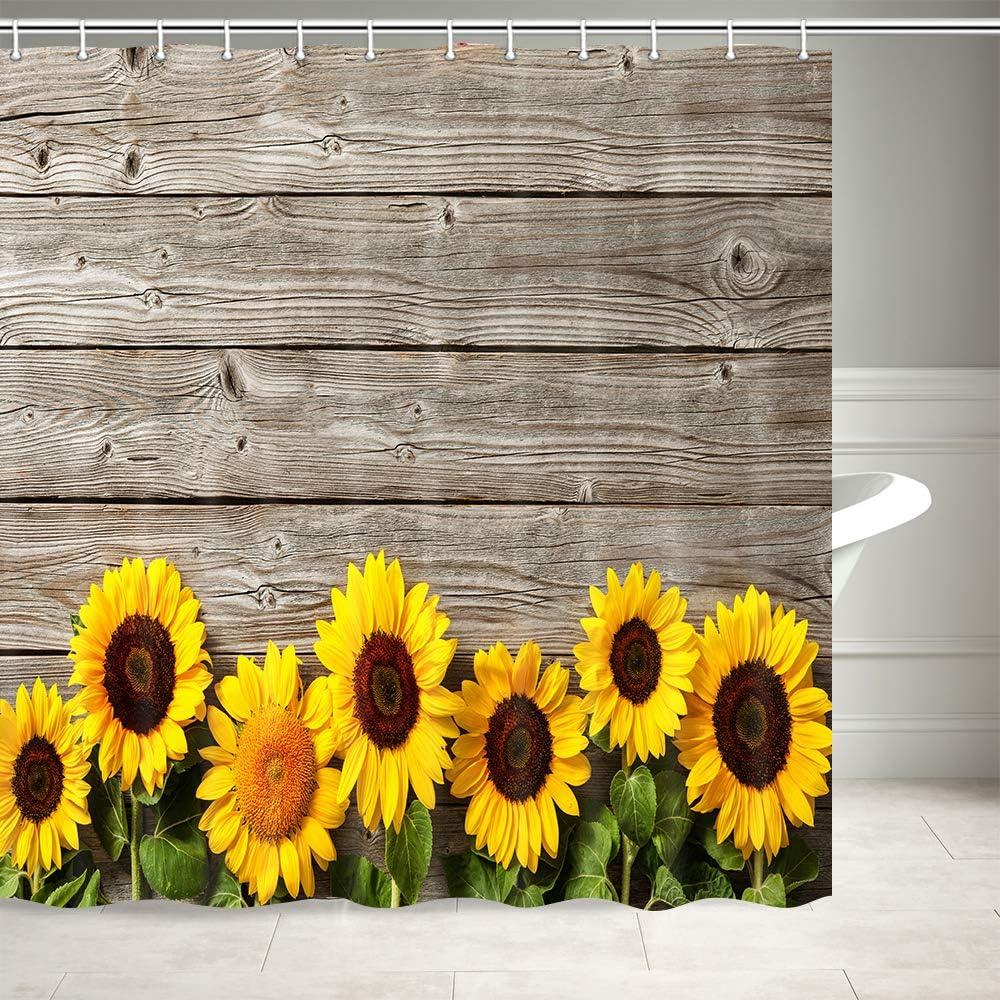 "Sunflower on Dark Wooden Plank Shower Curtain Bathroom Waterproof Fabric 71/"""