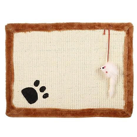 Gato rascador gato arañar puesto de sisal de capacitación garras Mat Pad Cojín con juguete