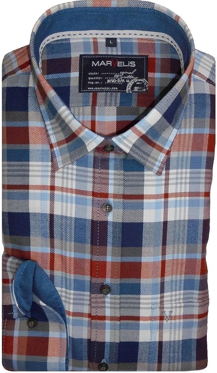 Marvelis Camisa Camisa Hombre Casual manga larga franela óxido/azul cuadros 6058.64.34 multicolor 43/44: Amazon.es: Ropa y accesorios