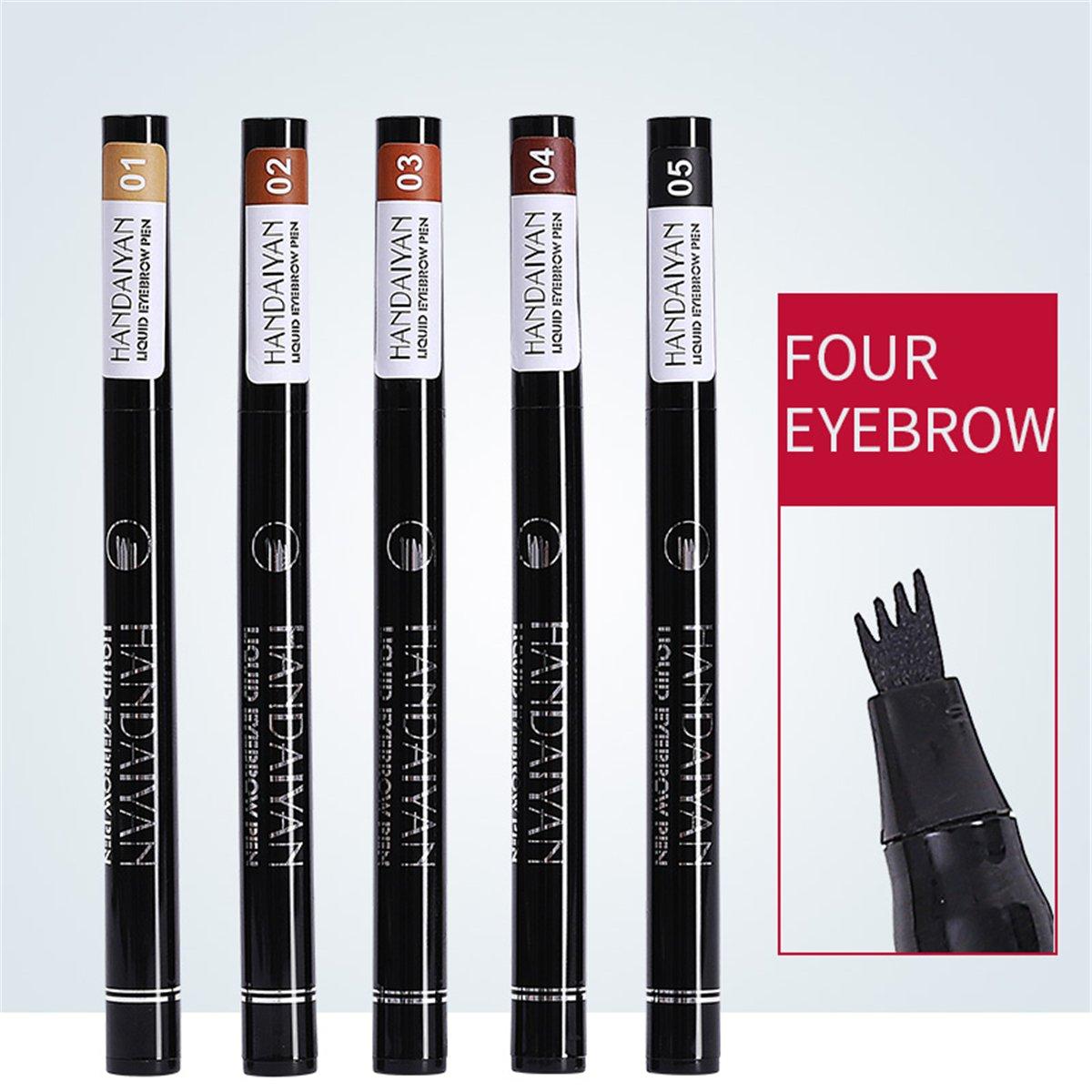 AIKIMUSE Eyebrow Tattoo Penwith 4 Tips, Liquid Long Lasting Brow Pencil Waterproof Smudge-prooffor Eye Makeup (02)