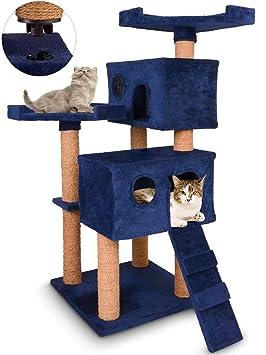 Leopet - Rascador para Gatos - Altura 117 cm - 2 Cuevas cómodas, 2 Plataformas y Escalera - Azul - Colores a Elegir: Amazon.es: Hogar