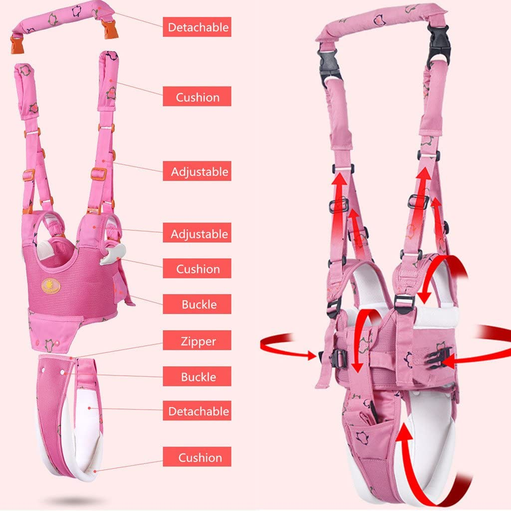 Baby Walking Reins Detachable Kids First Step Walking Assistant,Pink Toddler Safety Harness