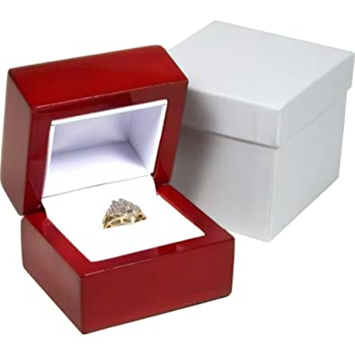 Findingking Rosewood Stained Ring Gift Box Jewelry Display