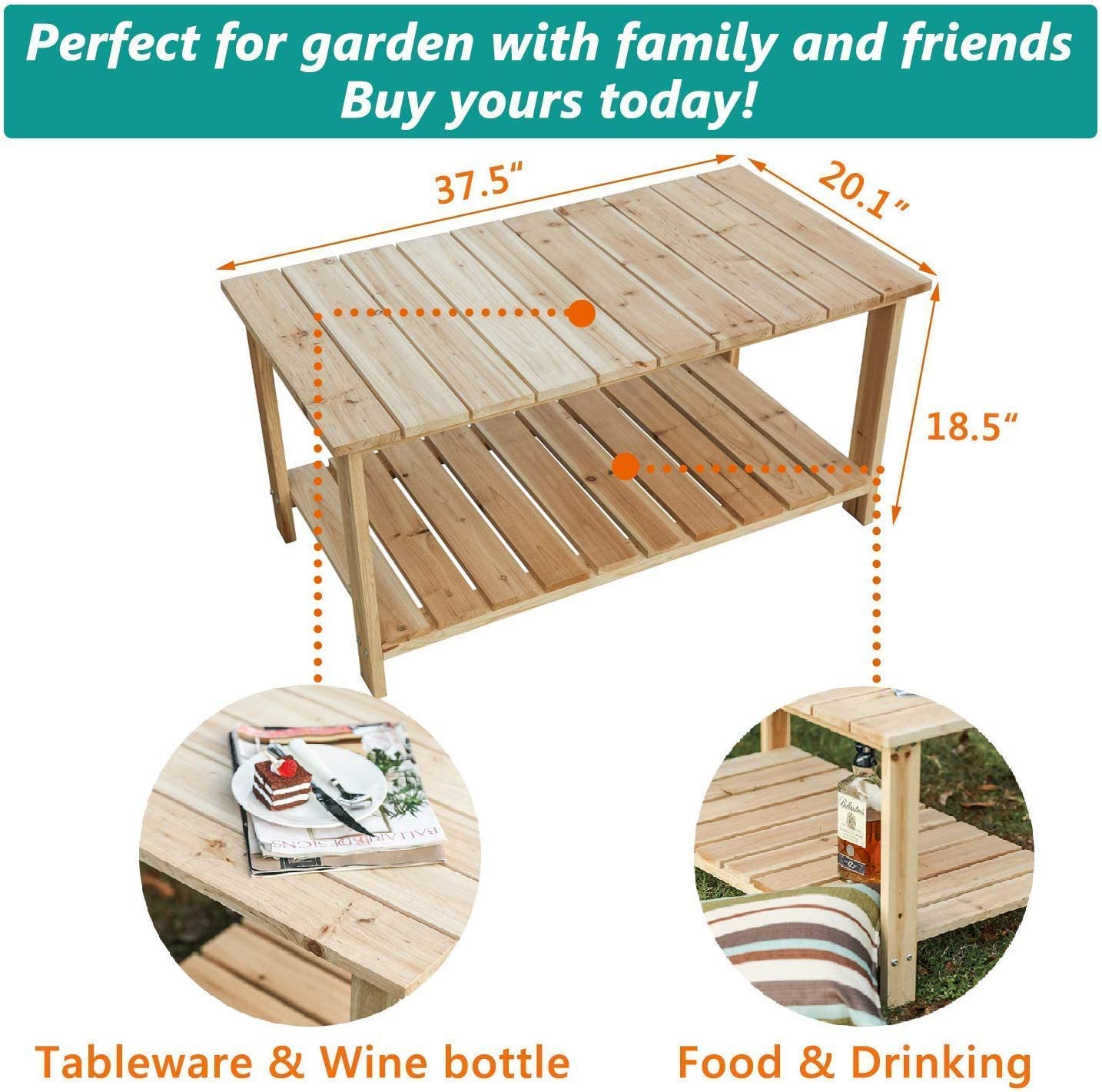 LOKATSE HOME Outdoor Coffee Table Natural Wood Patio Furniture with 2-Shelf Storage Organizer, Adirondack