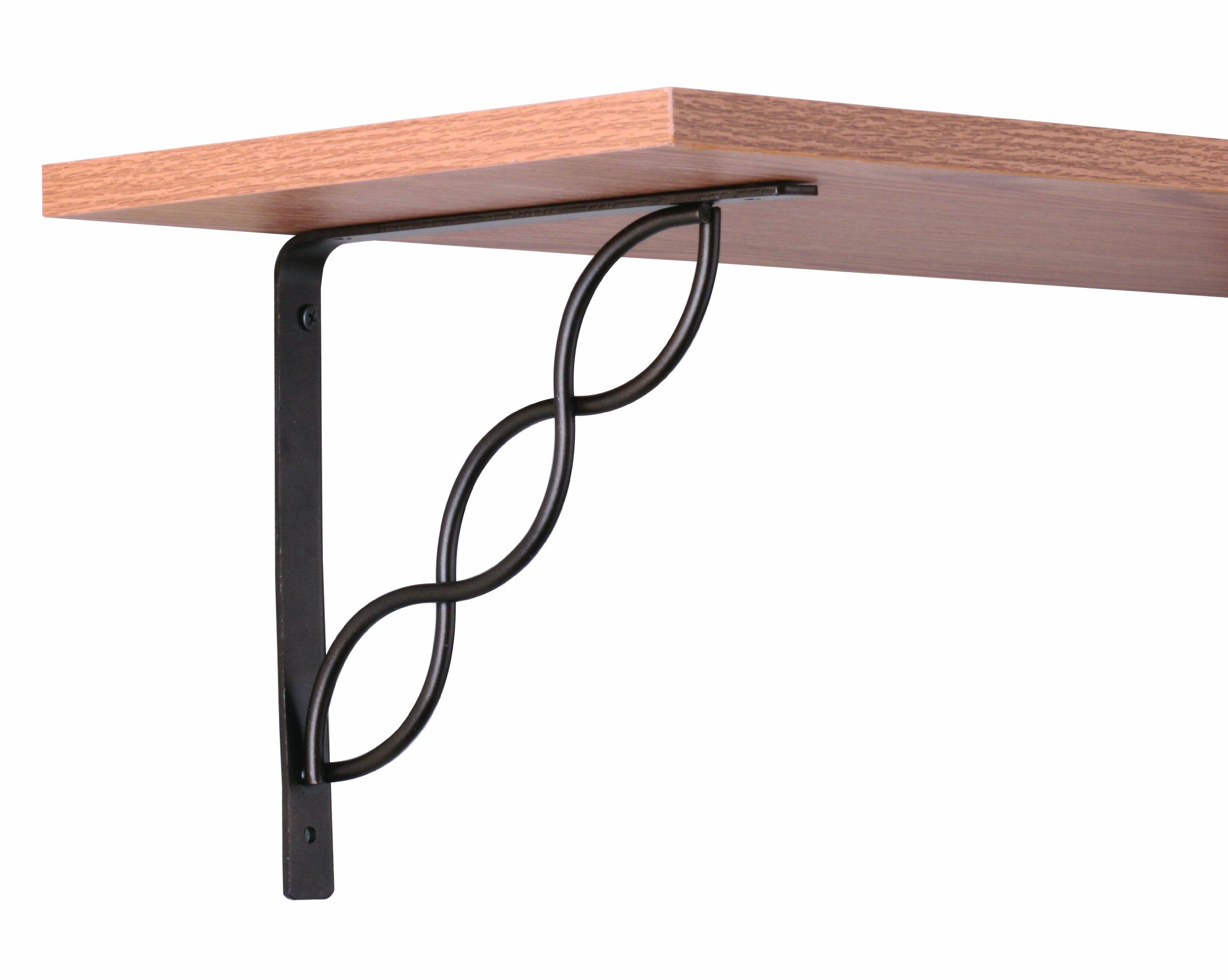 John Sterling Scroll Style Decorative Shelf Bracket, 8-inch, Bronze, RP-0091-8BRZ