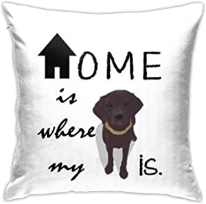 Throw Pillow Cover Home is Where My (Dog) is 18x18 Inches Pillowcase Home Decor Square Cotton Linen Pillow Case Cushion Cover