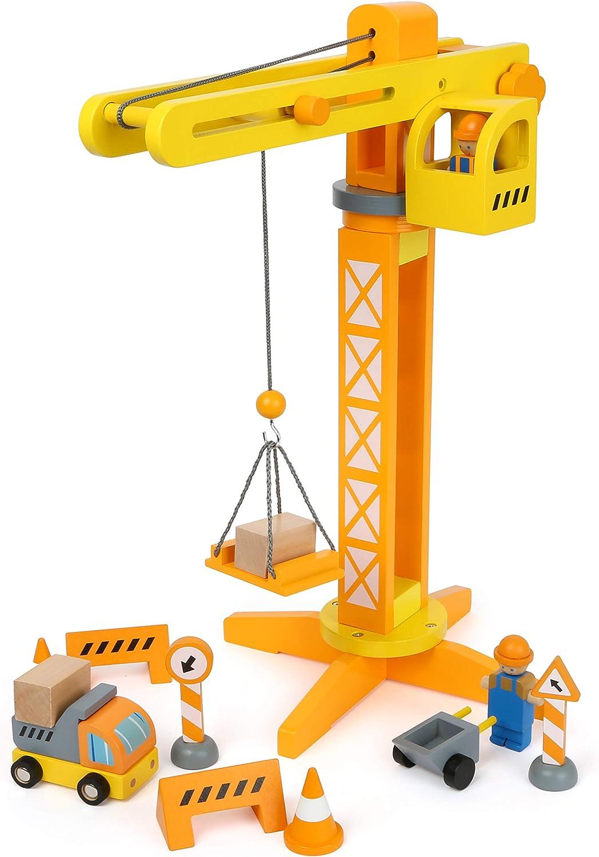 Small Foot 12007 - Grúa de Madera con certificación FSC, 100% con Accesorios de construcción, 13 Piezas, rotación de 360 Grados, para pequeños Trabajadores de construcción, Multicolor