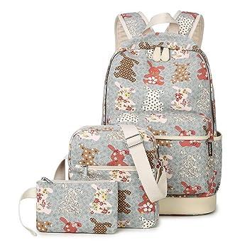 Joymoze Mochila de Lona Set 3 Piezas - Mochila Escolar con Lindo Estampado mochila Para Niños y Niñas Gris 846: Amazon.es: Equipaje