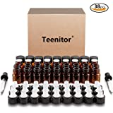 Oil Bottles for Essential Oils, Teenitor 36 Pcs 2 ml (5/8 Dram) Amber Glass Vials Bottles, with Orifice Reducers and Black Caps, With 2 Free Glass Transfer Eye droppers [USA Seller]