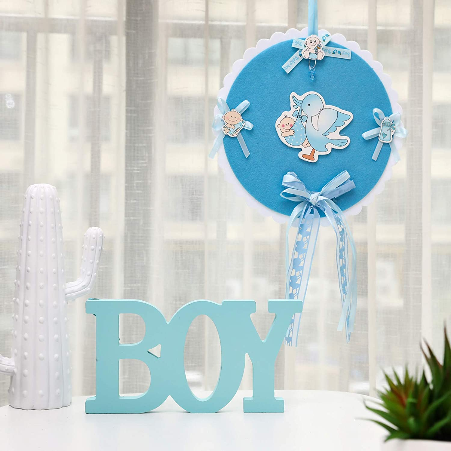 PARTYGOGO Blue Wooden BOY Sign for Baby Shower, Wooden Letter Table Sign BOY for Baby Shower Party Decoration Supplies (Blue BOY)