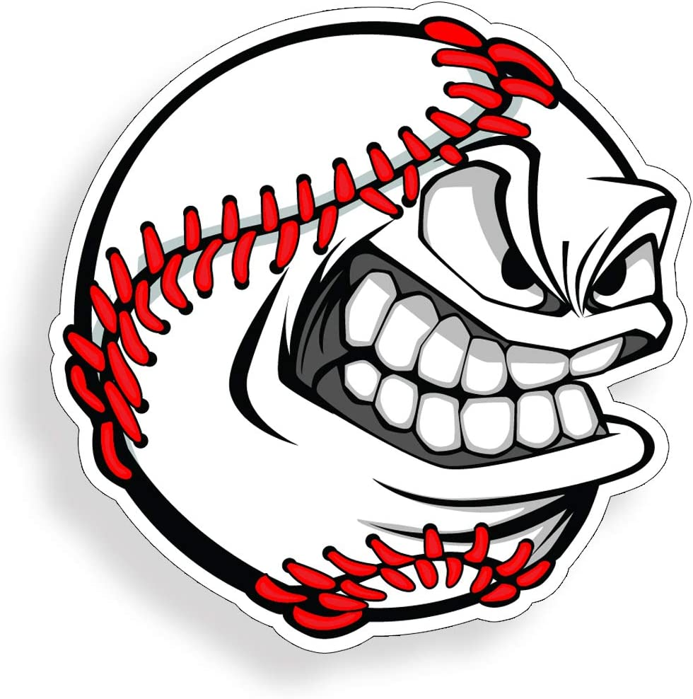 Angry Baseball Face Sticker Die Cut Vehicle Car Truck Laptop Custom Printed Base Ball Decal Back Glass Window Bumper Graphic