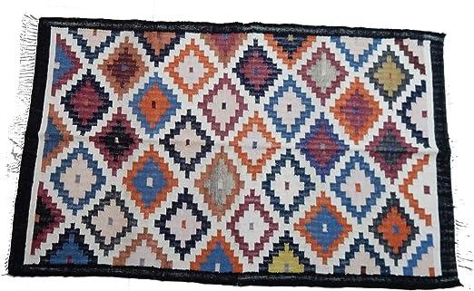 Alfombra de yute de algodón abstracto turco de 4 x 6 pies, tapete de yute, alfombra
