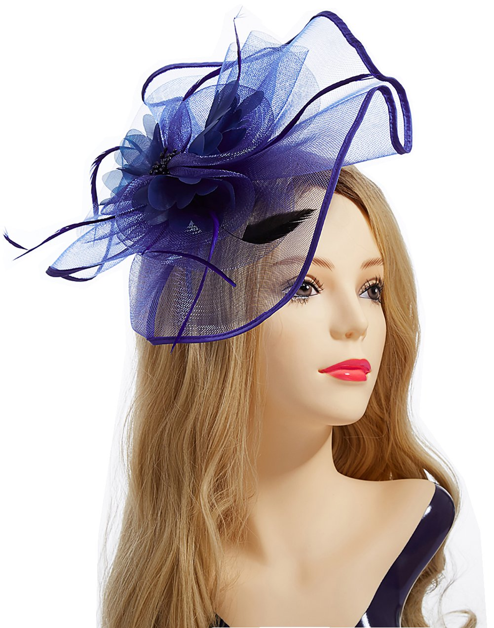 Aiskki Fascinator Hat, Feather Mesh Net Veil Party Hat Flower Derby Hat + Clip +Hairband + Gift Gloves for Women-Dark Blue