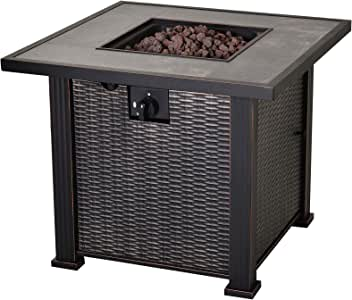 "Outsunny 30"" Outdoor Gas Fire Pit Table with Deluxe Slate Tabletop and Wicker Design, 50,000 BTU Patio Backyard Fire Pit Table with Lava Rocks"