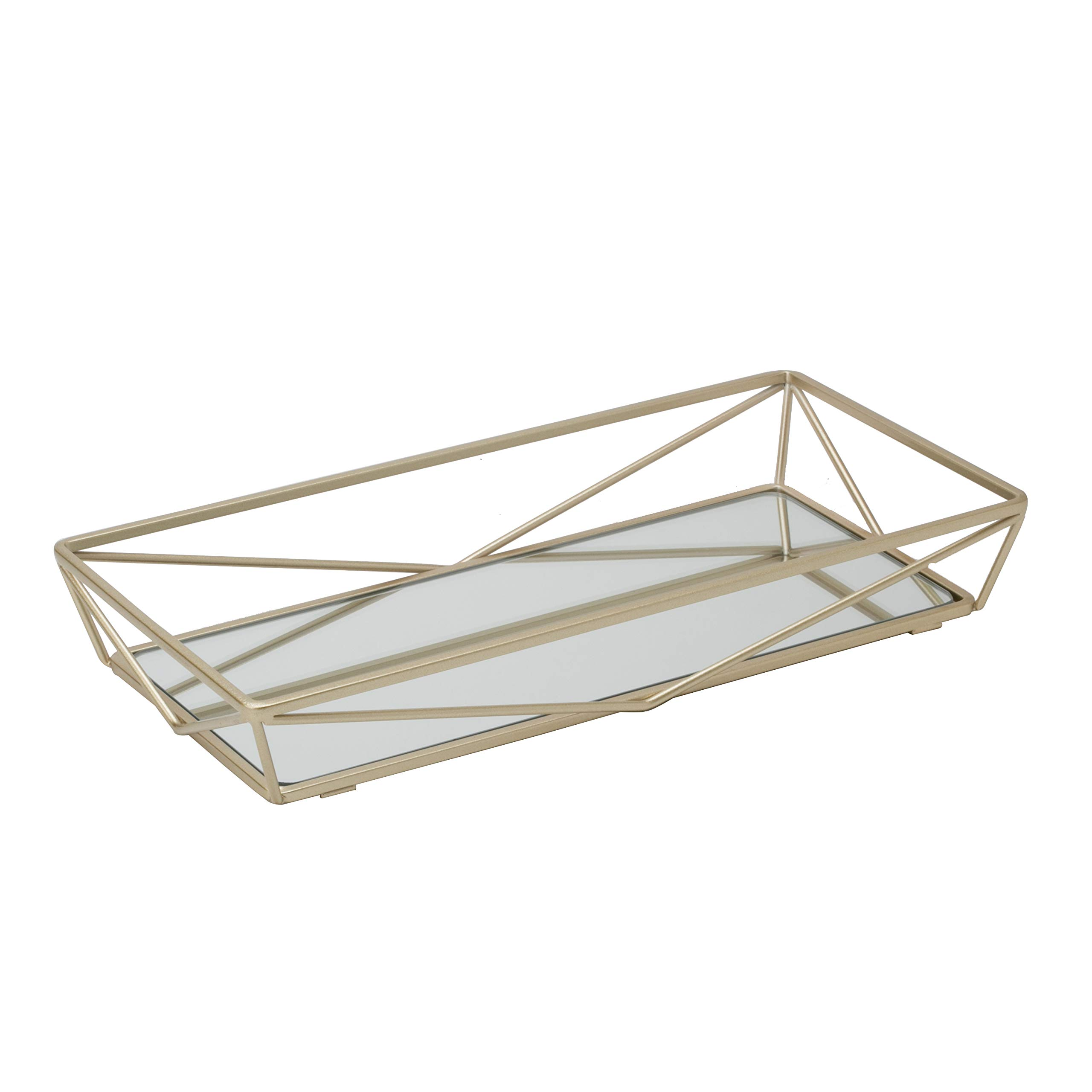 Home Details Mirrored Vanity Tray for Dresser, Perfume, Desk, Cosmetic & Jewelry Organizer, Decorative, Satin Gold by Home Details
