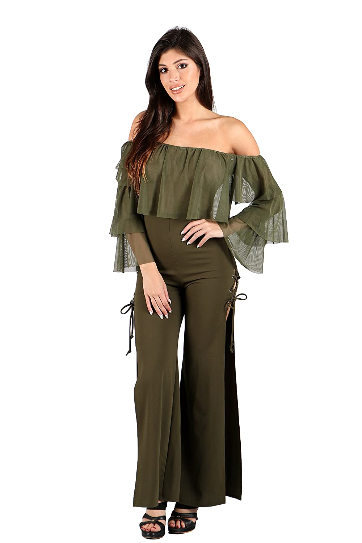 3848bcf9adeb Amazon.com  Womens Off Shoulder Sheer Chiffon Ruffle Design Lace-up Wide  Slit Legs Fashion Jumpsuit  Clothing