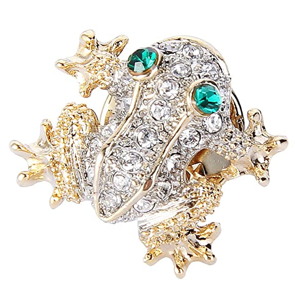 Vintage Style Jewelry, Retro Jewelry EVER FAITH Austrian Crystal Cute Green Eyes Climbing Frog Animal Lapel Pin Clear Gold-Tone $16.99 AT vintagedancer.com