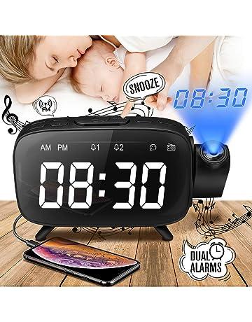 Despertador Proyector, Despertador Reloj Digital de Proyección, Radio Despertador Digital Proyector con Radio FM