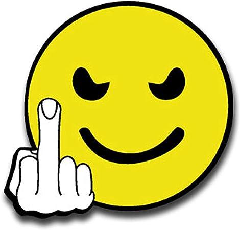 Autocollant Humoristique Fuck You Smiley Doigt D Honneur Mauvais Grinsen Humour 7 X 7 Cm A1387 Amazon Fr Auto Et Moto