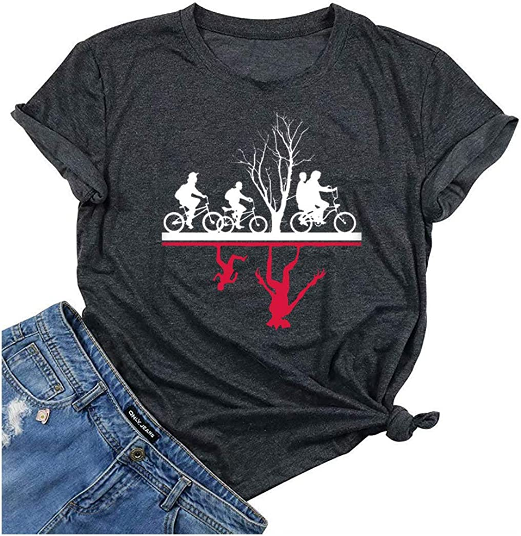 Anbech Upside Down Shirt Womens Novelty Graphic Tees Casual Tops