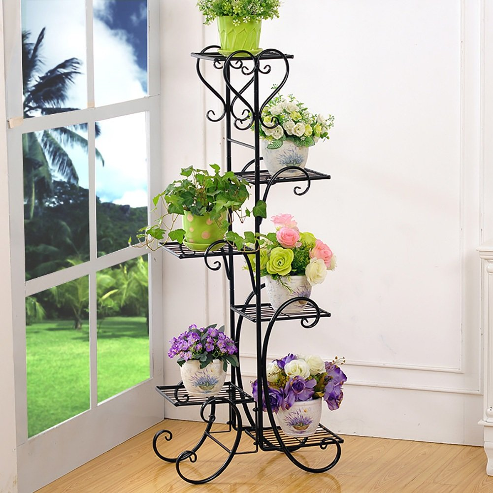 LXLA- Iron Flower Pot Stand Multilayer Indoor Potted Plant Rack Floor-standing Living Room Planter Display Shelf Balcony (Color : Black, Size : 48×26×121.5cm)