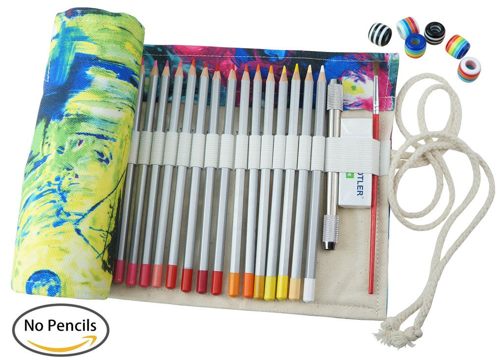 CreooGo 2Pcs/Pack Canvas Pencil Wrap, Pencils Roll Pouch Case Hold For 72 Colored Pencils ( Pencils are NOT INCLUDED )-72 Slots, Countryside Style + Elephant Style XINGXING 4336939219