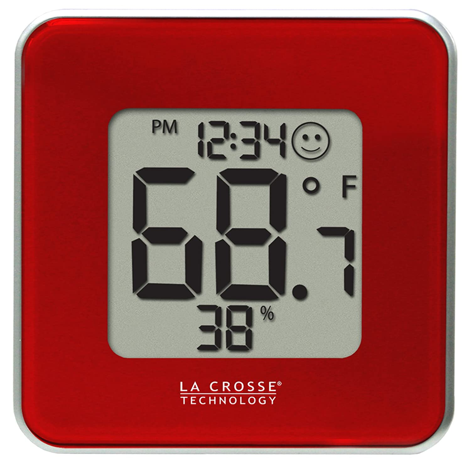 La Crosse Technology 302-604R Indoor Temperature and Humidity Station, Red 302-604R-TBP