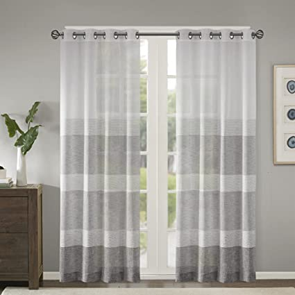 Sheer Curtains for Bedroom, Modern Contemporary Linen Grey Sheer Curtains  84 inches Long for Living Room, Hayden Striped Light Grommet Sheer Curtain,  ...
