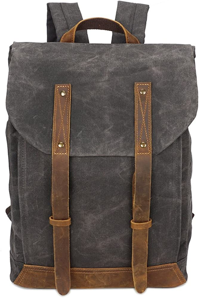 BRASS TACKS Leathercraft Men's Waxed Canvas Backpack Casual 15.6 laptop Bookbag