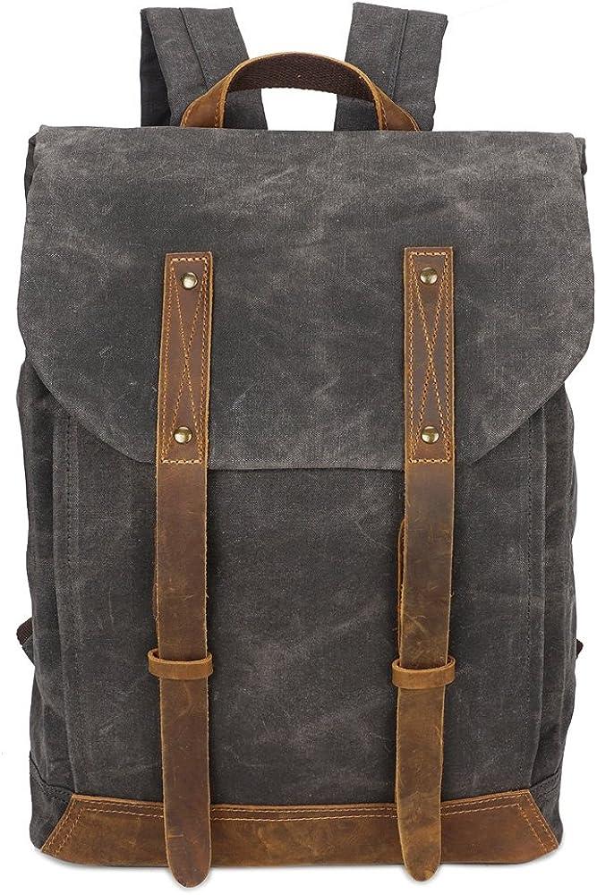 BRASS TACKS Leathercraft Men s Waxed Canvas Backpack Casual 15.6 laptop Bookbag