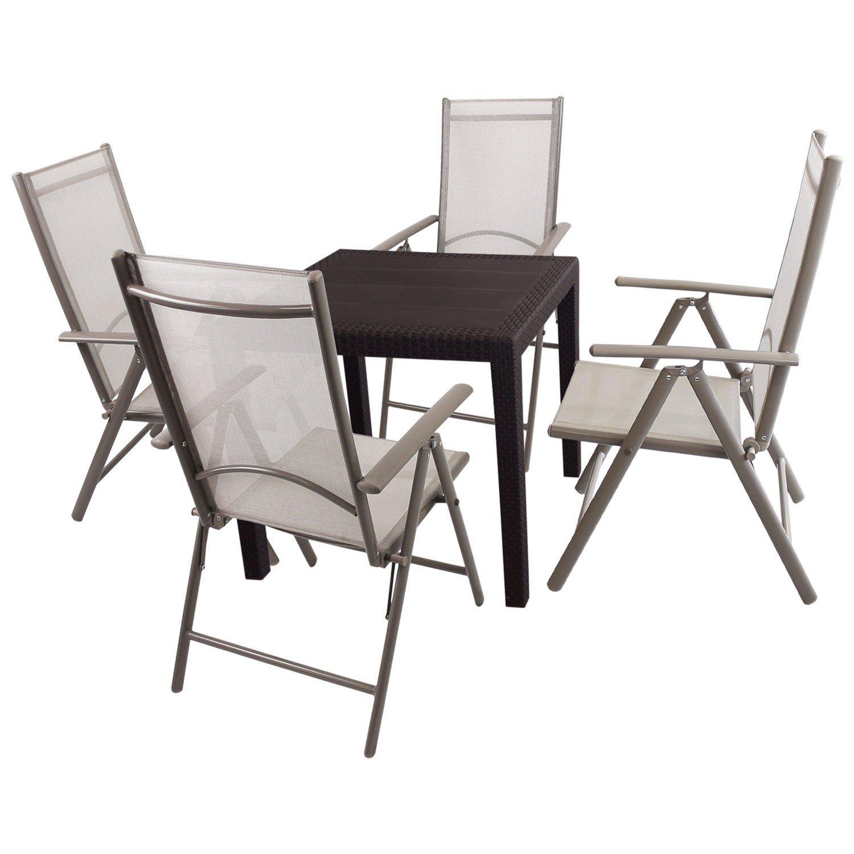 5tlg bistro balkonm bel set kunststoff gartentisch mit rattan look 79x79cm 4x aluminium. Black Bedroom Furniture Sets. Home Design Ideas