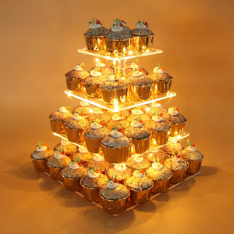 Amazon.com: Vdomus Pastry Stand 4 Tier Square Acrylic Cupcake ...