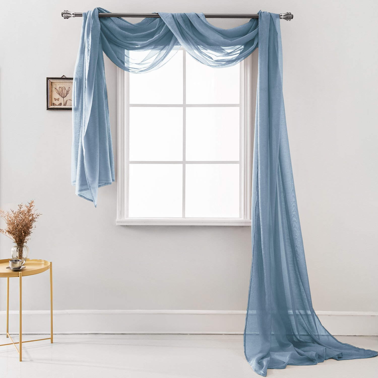 """Semi Sheer Luxury Scarf Window Decor Modern Classic Outdoor Home Design Light Penetrating Provide Privacy Soft Durable Polyester Easy Upkeep add to Curtains Drapes (Scarf 54'' x 216"""" Quite Blue)"""