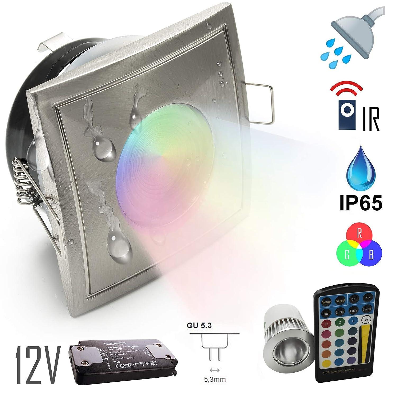 Faretto IP65 ambienti umidi 12Vdc LED 5w incasso doccia bagno RGB multi colore